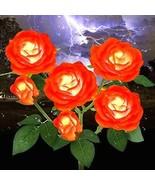 Outdoor Patio Garden Stake LED Solar Light 6 Rose Flowers Waterproof Orange - £31.86 GBP