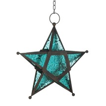 Blue Glass Star Lantern Candle Holder - $8.32