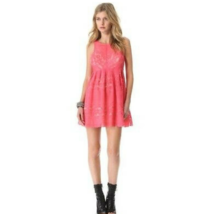 Free People Women's Sleeveless Lace Dress Backless Coral Pink Lined Size 2 - $24.95