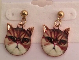 """Lucite Covered Pierced 1"""" Pink Gold Tabby Cat Earrings - $4.95"""