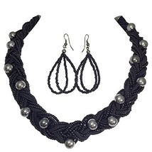 Braided Multi Strand Beaded Statement Necklace & (Black & Gun Metal) - $28.05