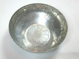 "Vintage MCM Hammered Aluminum 8"" Serving Bowl, Hand Wrought, Floral Pattern - $19.99"