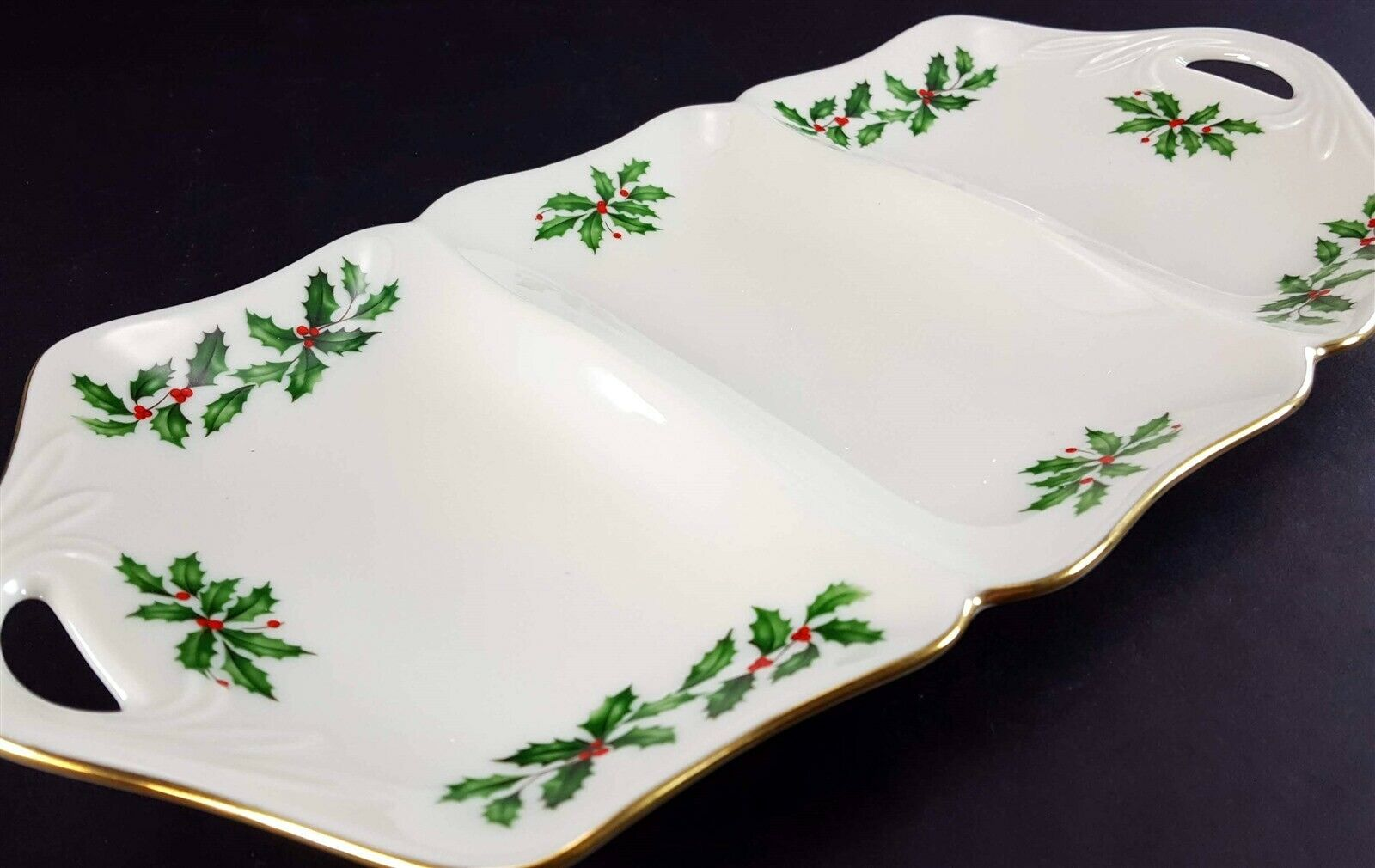 """LENOX China Holiday Dimension 3 Part Utility Serving Tray 13-3/8"""" Dinnerware image 3"""