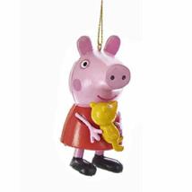 KURT ADLER PEPPA PIG IN CLASSIC RED DRESS HOLDING TEDDY BEAR CHRISTMAS O... - $7.88