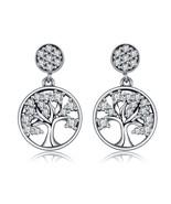 BAMOER Genuine 100% 925 Sterling Silver Tree of Life ,AAA Zircon Drop Ea... - $26.57