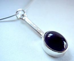 Purple Amethyst Oval 925 Sterling Silver Necklace Corona Sun Jewelry - $17.81