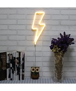 Neon Signs Lightning Bolt Battery Operated and USB Powered Warm White Ar... - $12.27