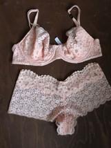 Victoria's Secret Dream Angels Push Up Bra Peach Pink Lace Shortie Set 3... - $28.70