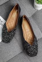 Sequin Black Ballet Flats Slippers Shoes Evening flats Party flat Weddin... - £37.03 GBP