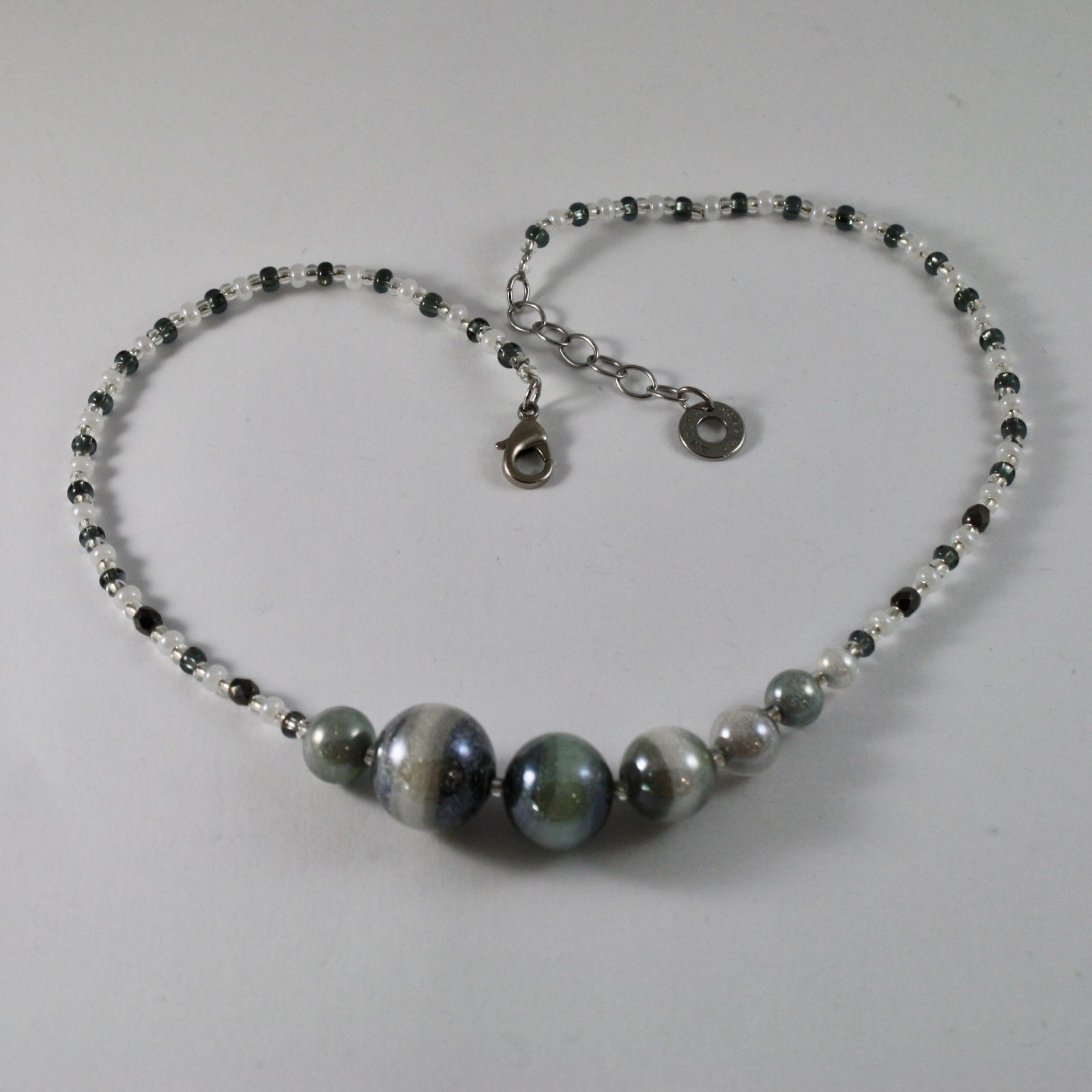 ANTICA MURRINA VENEZIA NECKLACE WITH BLACK WHITE MURANO GLASS BALLS 18 INCHES