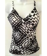 Apt. 9 Swim Top Halter Tankini Geometric Black White Size 6 MSRP $44 - $14.99