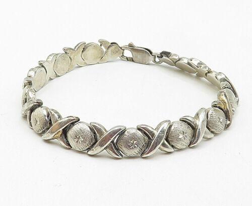 STARGOLD 925 Silver - Vintage Hugs & Kisses XO Link Chain Bracelet - B5000