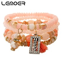 LEMOER 2019 Spring Happy Letter Tassel Charm Bracelets for Women Bohemia... - $9.73