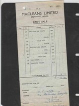 macleans limited toothpaste  1954 receipt ref 12847 - $12.25