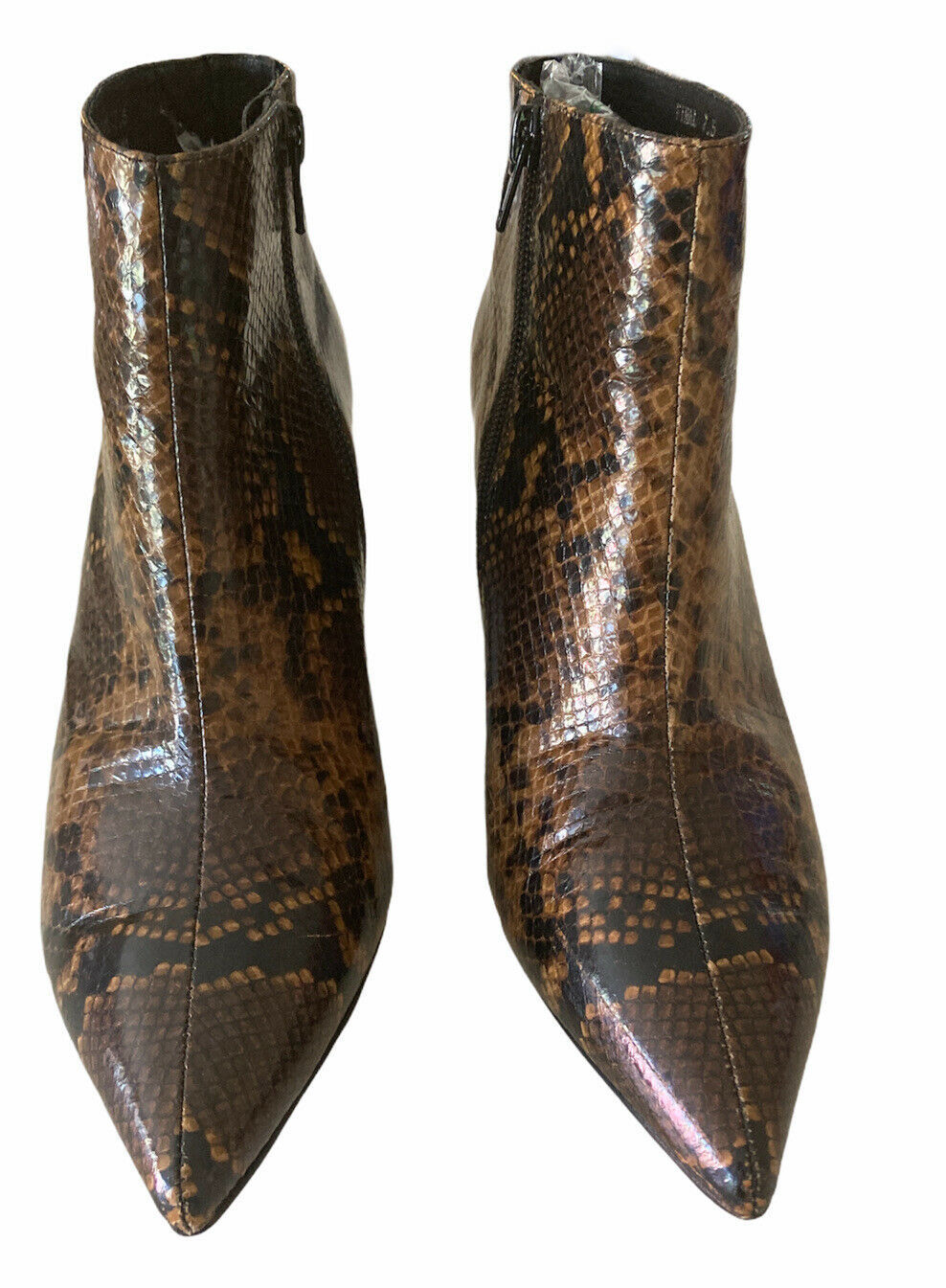 JEFFREY CAMPBELL BROWN LEATHER SNAKESKIN LILLIAN HEEL ANKLE BOOTS BOOTIES Sz 7.5 - $56.06