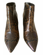 JEFFREY CAMPBELL BROWN LEATHER SNAKESKIN LILLIAN HEEL ANKLE BOOTS BOOTIE... - $56.06