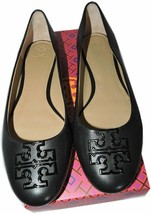 Tory Burch Melinda Ballet Flats Powder Black Leather Ballerina Shoes 10.5 - $138.00