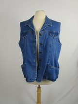 Big Time Denim Vest  Vintage 90's Size 3X Jean Metal Buttons Made in USA - $18.04