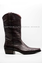 Handmade Men's Burgundy Ostrich Cowboy Mexican Western Hunter Boots - €424,26 EUR