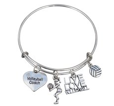 Volleyball Coach Bracelet, Volleyball Jewelry, Volleyball Charm Bangle -Volleyba - $16.50