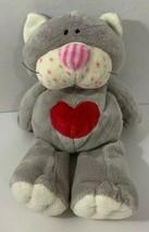 Ty Pluffies 2005 KissyCat Plush gray red heart kitty kissy cat kitten pi... - $4.94