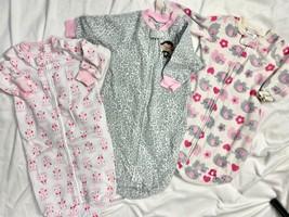 Carters Fleece Sleep Sack Blanket Sleepers Pajamas Leopard print Girls 0... - $31.68