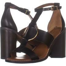 Franco Sarto Dandelion T-Strap Heeled Sandals 364, Black Leather, 7.5 US... - $33.59