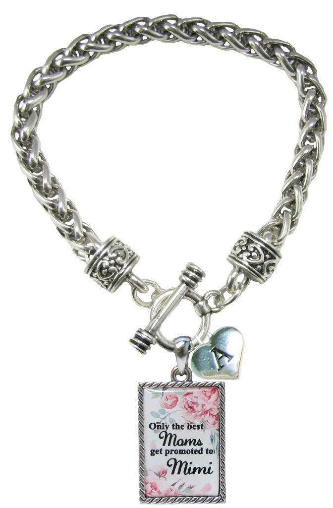Primary image for Custom Only the Best Moms Get Promoted to Mimi Silver Bracelet Jewelry Initial