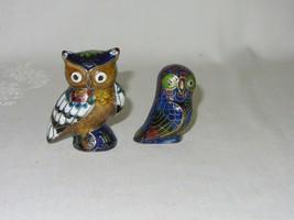 Lot of 2 Cloisonne Enamel Vintage Owl Bird Figurine Statue Blue Red Gold - $33.65