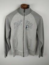 OL Indiana Pacers Men Jacket M Medium Gray Sweatshirt Full Zip Distresse... - $39.59