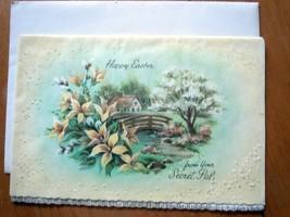Vtg Coronation Collection Happy Easter Secret Pal Spring Glitter Card Un... - $2.99