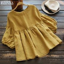 Fashion Ruffle Blouse Summer Women's Tunic 2019 ZANZEA Vintage Casual Li... - $21.63+