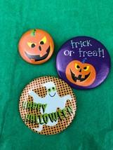 Halloween Button Pins Pumpkin And Ghost Lot Of 3 - $2.40