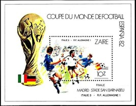 CONGO / ZAIRE 1982 football CUP SPAIN S/S ITALY-GERMANY game  MNH SPORTS... - $2.57