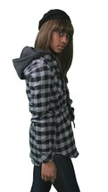 Insound Womens Black Flannel Tunic Shirt Hoodie Build in Ear buds Headphones NWT image 2