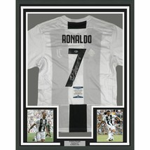 FRAMED Autographed/Signed CRISTIANO RONALDO 33x42 Juventus White Jersey ... - $749.99