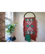 Macrame Wall Hanging with Feathers in Rusty Red Cotton  - $160.00