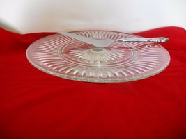 Crystal Torte Stand on Silverplated Low Pedestal  + Silverplate Server  - $4.94