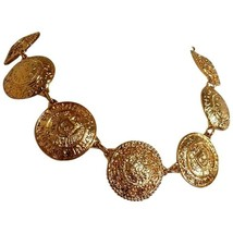 Vintage CHANEL rare statement necklace with logo embossed unique coin motifs. - $782.00