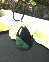 Necklace, Black Onyx w/ Druzy Quartz Pendant, Black Suede Cord Great Val... - $19.79