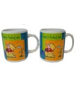 2 Disney's Winnie The Pooh & Piglet Happy Being Me Coffee Mug Houston Ha... - $12.86