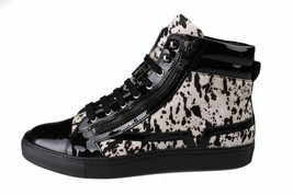 Versace Collection Black Pony Hair Patent Leather HI-Top Zip-Up Fashion Sneaker image 2