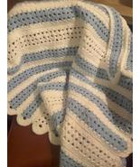 Blue and White Crocheted Baby Blanket Afghan - $35.00