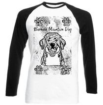 Bernese Mountain Dog - New Black Sleeved Baseball Cotton Tshirt - $26.46