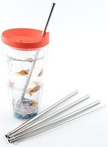 4 Stainless Steel Straws for Tervis Tumbler 24 oz Travel Insulated Clear - $8.90