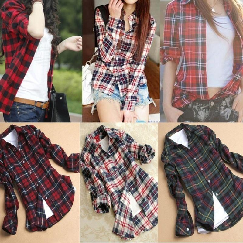 Women Campus Plaid Check & Flannel Shirts Button Down Tops Blouse