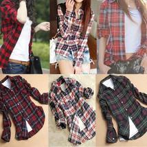 Women Campus Plaid Check & Flannel Shirts Button Down Tops Blouse