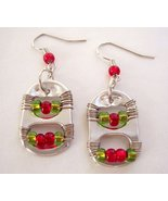 Christmas Pop Tabs Earrings Red and Green - $10.50