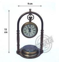 Retro Theme Clock & Compass Marine Ship Decorative Brass Analog Clock & ... - $39.27
