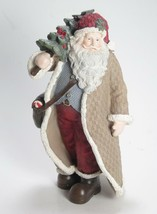 "7.5"" Tall Santa Claus Figurine in Tan Coat w/satchel & Holding Christmas... - $18.76"